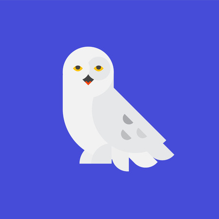 Icon of the white owl. Illustration of a polar owl. Vector icon. Flat style. Abstract icon of an owl. Image of an animal for the company icon. Company character. Illustration