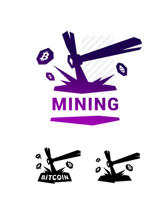 Bergbau-Symbol, Bitcoin-Bergbau. Metall-Spitzhacke, die Kryptowährung extrahiert. Symbol für Unternehmen lokalisiert auf weißem Hintergrund. Marke des Unternehmens. Emblem auf den Bergleuten.