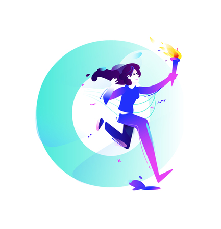 Illustration of a girl with a torch. Running girl. Vector flat illustration. Illustration for banner and print. Image is isolated on white background. Business illustration. Vettoriali