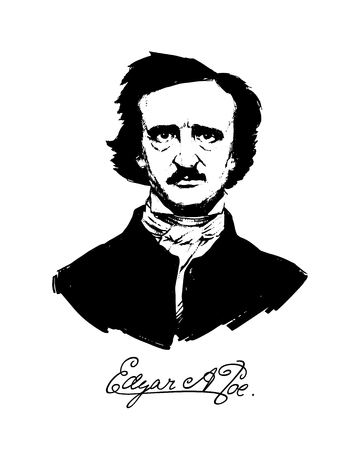 Illustration by Edgar Allan Poe. Portrait of a great American writer and poet. Illustration for a tattoo, site, booklet, poster, postcard. Image on white background isolated. Vector illustration.