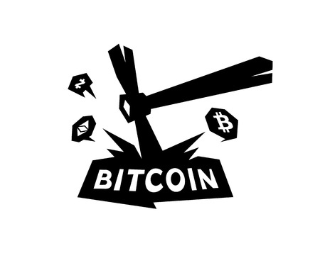 Mining logo, bitcoin mining. Metal pickax extracting crypto currency. Vector logo. Logo for company isolated on white background. Brand of the company. Emblem on the miners.