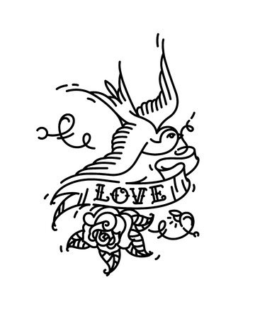 Tattoo Swallows with the inscription Love and a rose bud from below. Vector illustration. Tattoo of an American old school. Bird swift with ribbon and flower. Contour version of the tattoo.