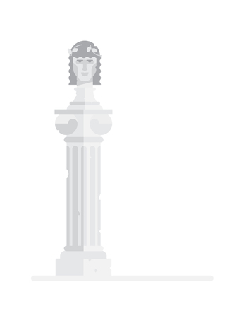 Sculptural bust of the Greek god. Flat illustration of the Greek king on the column. Vector illustration. Icon of a Roman emperor is isolated on a white background. Image for poster, site and print.