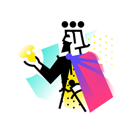 theatrical studio. Illustration of a Hamlet with a skull. The hero of the works of Shakespeare. Vector flat. The kings character on the stage. Corporate identity. Abstract modern.