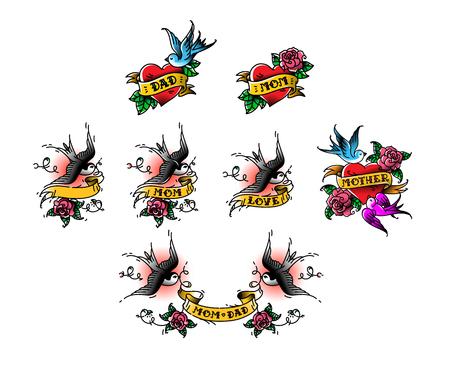 Tatuaje de golondrinas con la inscripción de mamá papá en cinta. Ilustración de vector. Tatuaje, vieja escuela americana. Dos pájaros Golondrinas, rosas y felicitaciones para los padres. La inscripción en la cinta, los nombres de la amada.