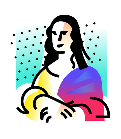 Illustration of the Mona Lisa. Icon of Gioconda