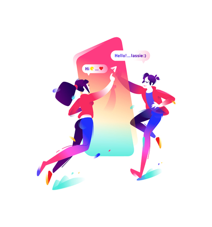 Illustration of a boy and a girl with a smartphone. Vector flat icon. Users of messenger. Two characters get acquainted with the chat. Illustration for banner and website. Modern means of communication.