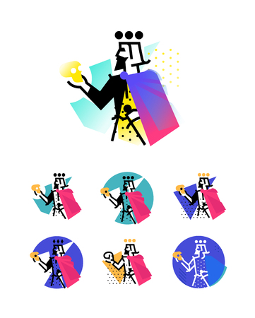 Logo for theatrical studio. Illustration of a Hamlet with a skull. The hero of the works of Shakespeare. Vector flat logo. The king's character on the stage. Color options. Abstract modern logo.  イラスト・ベクター素材