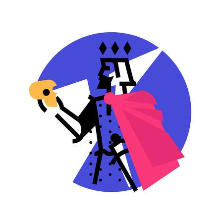 Logo per studio teatrale. Illustrazione di un borgo con un teschio. L'eroe delle opere di Shakespeare. Logo piatto vettoriale. Il personaggio del re sul palco. Identità aziendale. Logo moderno astratto.