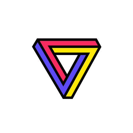 Logo of the Penrose triangle. Vector logo. Image is isolated on white background. Mathematical figure. Company's corporate brand, symbol, sign, signboard. Brand for the store. Abstract illusion.