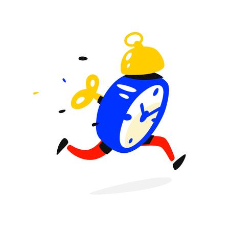 Personaje de dibujos animados con reloj despertador. Ilustración de vector. El tiempo ha terminado. El reloj corre. La imagen está aislada sobre fondo blanco. Ilustración plana para banner, impresión y sitio web. Compañía de la mascota.