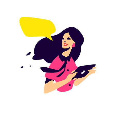 Illustration of a fashionable girl with a tablet. Vector flat illustration. PR specialist, advertiser. Project Manager. Character for the site and print. Icon for the fashion store, discounts, sale.