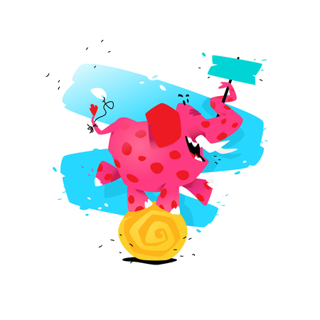 Illustration of a cartoon pink elephant on a ball. Vector illustration. Image is isolated on white background. Illustration for a banner, congratulations, holiday, children's shop. Mascot.