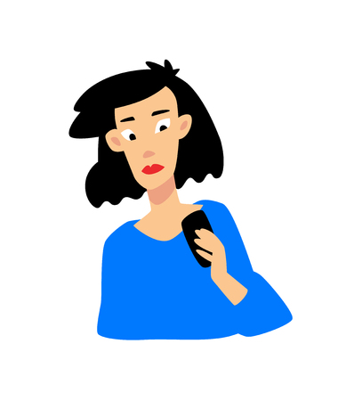 Illustration of a girl with a phone. Vector flat illustration. Young Asian girl looking into smartphone. Character for the site and print. Asian girl discouraged by messages.