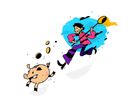Illustration of a man running after a piggy bank with a net. Vector illustration. Image is isolated on white background. Earnings on bank deposits. Investment of money. In pursuit of profit. Illustration
