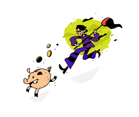Illustration eines Diebes, der einem Sparschwein mit einem Netz nachläuft. Vektorillustration. Bild ist auf weißem Hintergrund isoliert. Ein Comic-Dieb versucht, ein Sparschwein zu fangen. Auf der Suche nach Gewinn. Leichtes Geld.