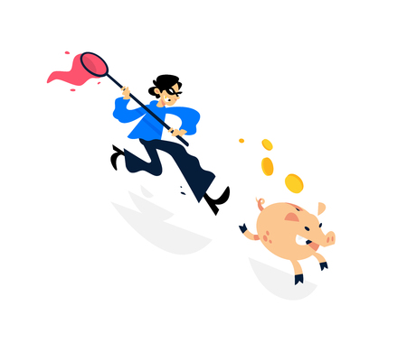 Illustration of a thief running after a piggy bank with a net. Vector illustration. Image is isolated on white background. A cartoon thief is trying to catch a piggy bank. In pursuit of profit. Easy Money. Ilustração Vetorial