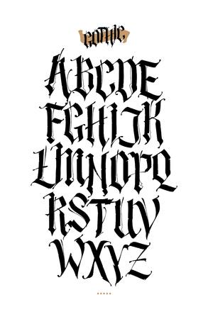 Alfabeto gotico, inglese. Insieme di vettore. Carattere per tatuaggi, scopi personali e commerciali. Elementi isolati su sfondo bianco. Calligrafia e lettering. Lettere latine medievali.