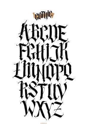 Gotisch, Engels alfabet. Vector set. Lettertype voor tatoeage, persoonlijke en commerciële doeleinden. Elementen geïsoleerd op een witte achtergrond. Kalligrafie en belettering. Middeleeuwse Latijnse letters.