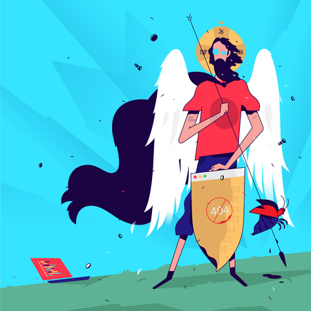 Illustration of a programmer in the image of a saint. Vector illustration. The programmer catches errors and bugs. Saint protects against viruses. Mascot for the Internet company. The Holy Guardian of the IT industry. Humor.
