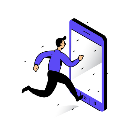 Illustration of a man running to the phone. Vector illustration. Catch the bell. Image is isolated on white background. Dependence on the phone and the Internet. Go online. Metaphor. The man in the phone. Illustration