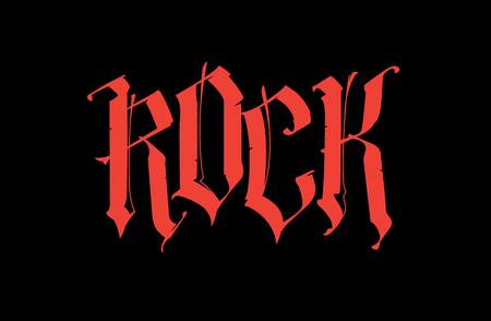 Gotico, iscrizione Rock. Vettore. Tipo di carattere per il tatuaggio. La parola è isolata su uno sfondo nero. Calligrafia e lettering. Lettere rosse. Logo per t-shirt. Tagline. Motto.