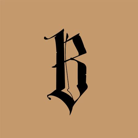Litera B w stylu gotyckim. Wektor. Alfabet. Symbol jest izolowany na złotym tle. Kaligrafia i liternictwo. Średniowieczna litera łacińska. Logo firmy. Monogram. Elegancka czcionka do tatuażu. Logo