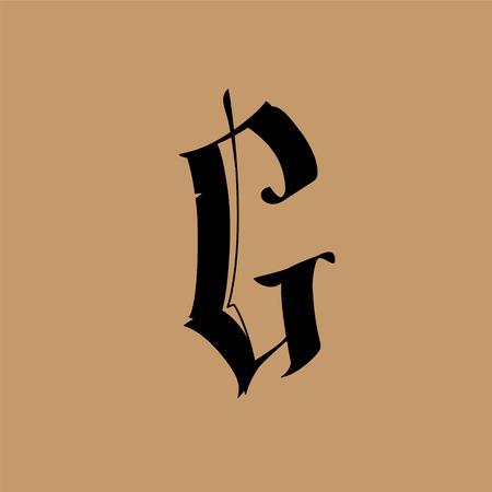 Letra G, de estilo gótico. Vector. Alfabeto. El símbolo está aislado sobre un fondo dorado. Caligrafía y rotulación. Letra latina medieval. Logotipo de la empresa. Monograma. Fuente elegante para tatuaje.
