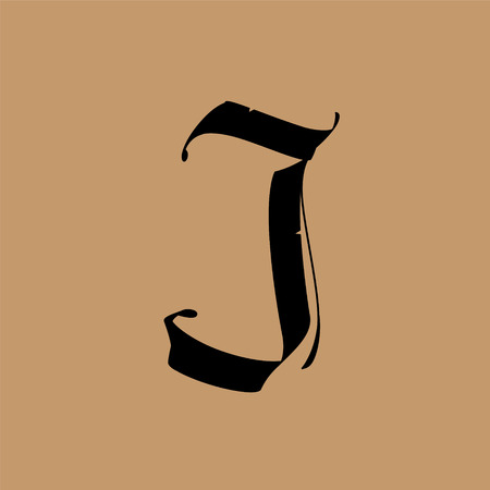 Lettera J, in stile gotico. Vettore. Alfabeto. Il simbolo è isolato su uno sfondo dorato. Calligrafia e lettering. Lettera latina medievale. Logo per l'azienda. Monogramma. Carattere elegante per tatuaggio.