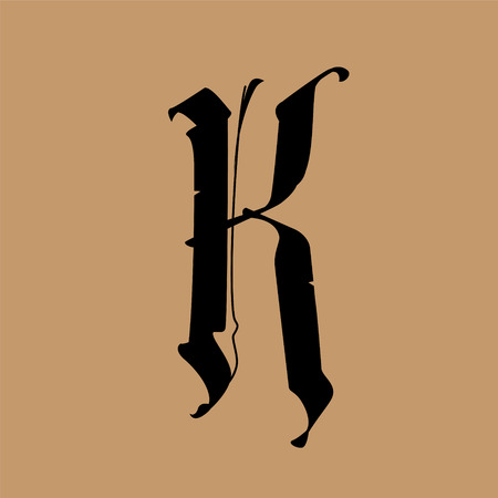 Letter K, in the Gothic style. Vector. Alphabet. The symbol is isolated on a golden background. Calligraphy and lettering. Medieval Latin letter. Logo for the company. Monogram. Elegant font for tattoo. Çizim