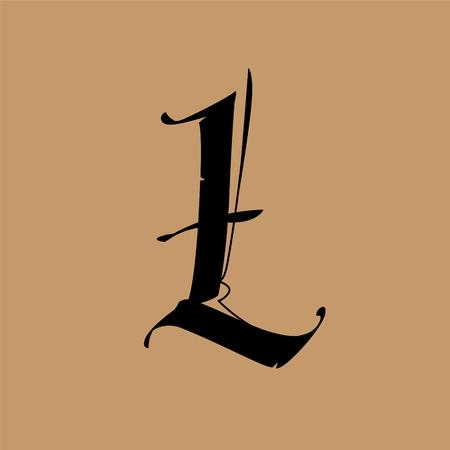 Lettre L, de style gothique. Vecteur. Alphabet. Le symbole est isolé sur un fond doré. Calligraphie et lettrage. Lettre latine médiévale. Logo de l'entreprise. Monogramme. Police élégante pour le tatouage.
