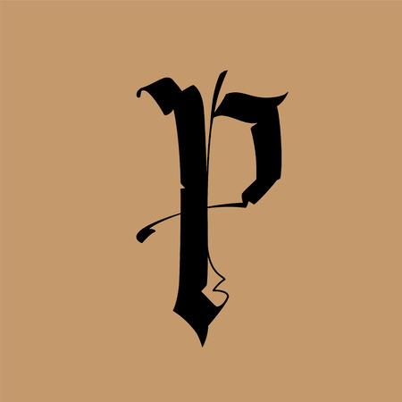 Letra P, de estilo gótico. Vector. Alfabeto. El símbolo está aislado en un fondo dorado. Caligrafía y rotulación. Letra latina medieval. Logotipo de la empresa. Monograma. Fuente elegante para tatuaje.