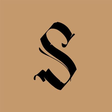 Lettera S, in stile gotico. Vettore. Alfabeto. Il simbolo è isolato su uno sfondo dorato. Calligrafia e lettering. Lettera latina medievale. Logo per l'azienda. Monogramma. Carattere elegante per tatuaggio.