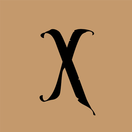 Letter X, in the Gothic style. Vector. Alphabet. The symbol is isolated on a golden background. Calligraphy and lettering. Medieval Latin letter. Logo for the company. Monogram. Elegant font for tattoo. Logo