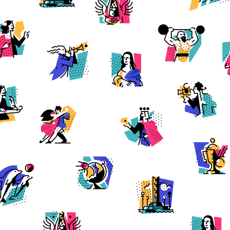 A set of icons on the theme of art forms. Music, choreography, singing, literature, theater, circus. Vector illustration. Hobbies of creative people. Icons for the site, banner and print. Emblems, symbols. Pattern.