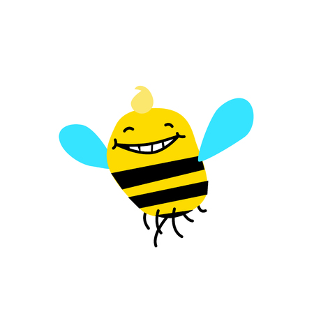 Illustration of a cartoon bee. Vector illustration. Funny bee, bumblebee. Image is isolated on white background. Mascot for the company. Illustration