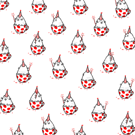 Cartoon funny cat, pattern, ornament. Vector flat illustration. The character is isolated on a white background. Ornament,  pattern for fabric. Funny kitty for the site and postcards. Mascot.