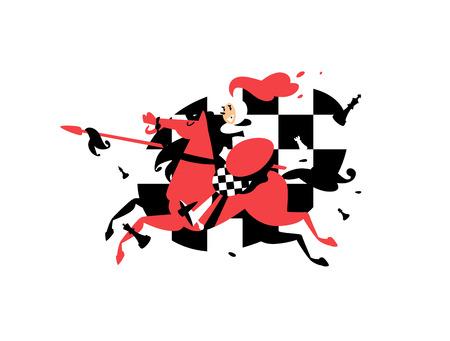 Illustratie van een ruiter Pionnen te paard met een speer. Vector illustratie. Karakter voor de site, schaakstudio, school. Wedstrijden in het schaken. Afbeelding is geïsoleerd op een witte achtergrond. Mascotte. Vector Illustratie