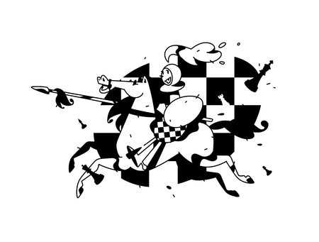 Illustration de pions perchés. Illustration vectorielle. L'image est isolée sur fond blanc. Caractère dans le style de bande dessinée. Pion à cheval avec une lance. Affiche, bannière, mascotte. Vecteurs