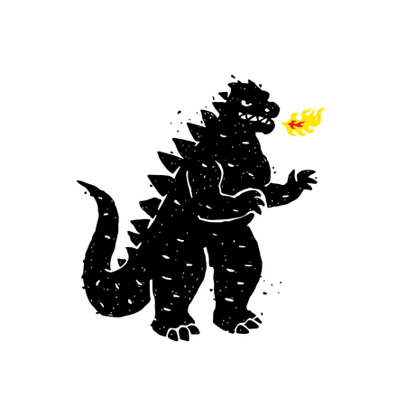Ilustración de escupe fuego, dragón, dinosaurio. Ilustración vectorial. Un héroe para un sitio, un banner o una tienda. La imagen está aislada sobre fondo blanco. Carácter enojado, pero muy lindo. Mascota.