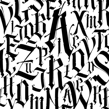Pattern, ornament in the Gothic style. Vector. Alphabet. Symbols are black on a white background. Calligraphy and lettering. Medieval Latin letters. Logo for the company. Set. Elegant font for tattoo.
