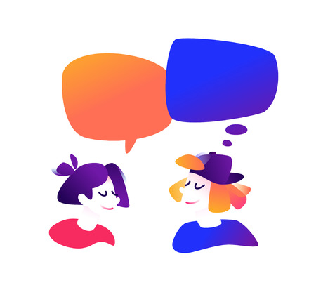 Illustration of a communicating guy and a girl. Vector illustration. Cute characters in a comic, cartoon style. Communication, chatting on the Internet. The illustration is isolated on a white background. Mascots.