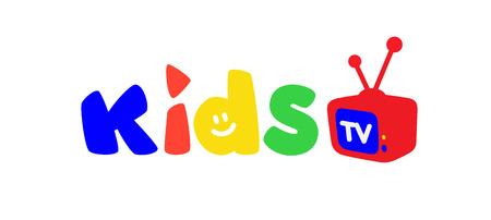 Logo pour la télévision pour enfants. Vecteur. Logo lumineux avec des lettres colorées et une télévision. Logo isolé sur fond blanc. Boutique pour enfants à la mode, studio. Une inscription pour la chaîne vidéo, blog.