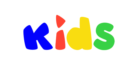 Logo for childrens play area. Vector. Bright logo with colored letters. Logo isolated on white background. Fashionable childrens shop, studio. An inscription for the video channel, blog. A symbol, an inscription.