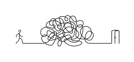 Illustratie van een man die door een labyrint naar de uitgang loopt. Vector. Het labyrint is als een brein. Metafoor. Lineaire stijl. Illustratie voor een website of presentatie. Problemen in het leven oplossen. Zoek en sluit af.