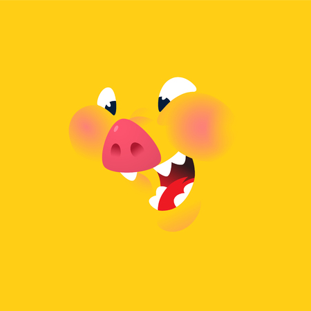 A cartoon yellow pig. Vector. Emotion, a smile of a pork character. Illustration of Pork for menu, restaurant and packing. Stew. Logo, a talisman for the company. Pig symbol of the year 2019. Vectores
