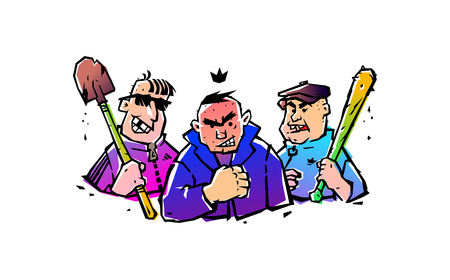 Illustration of three hooligans with a bat and a shovel. Vector. The illustration is isolated on a white background. Russian courtyard punks. Bandits and robbers. Funny mafia. Sticker, picture for T-shirt. Mascots.