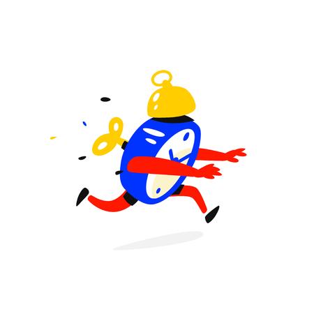 Cartoon character is an alarm clock vector illustration
