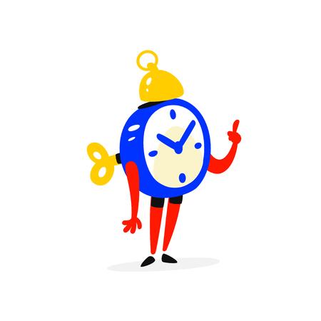 Cartoon character is an alarm clock vector illustration Vector Illustratie