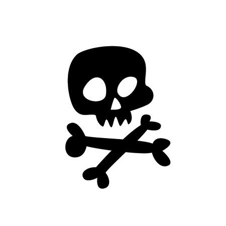 Cartoon skull. Flat icon of stylized human skull. Great sign. Jolly Roger. The symbol for the icon. Sticker.